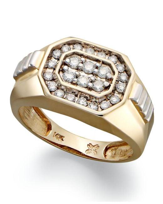 Macy's - Metallic Men's Diamond Rectangle Ring In 14k Gold (1/2 Ct. T.w.) for Men - Lyst