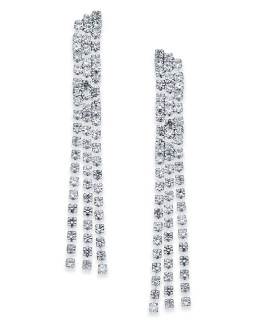 INC International Concepts   Metallic Silver-tone Crystal Chain Linear Drop Earrings   Lyst