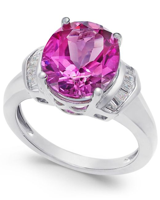 Macy's - Metallic Pink Topaz (4-9/10 Ct. T.w.) And White Topaz (1/4 Ct. T.w.) Ring In Sterling Silver - Lyst