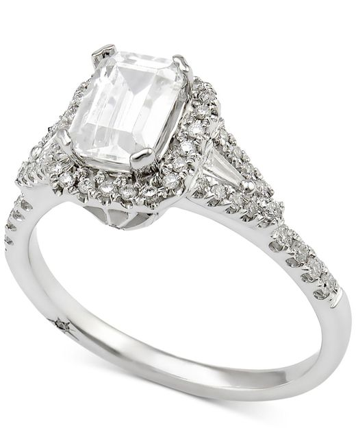 Marchesa - Multicolor Diamond Engagement Ring (1 Ct. T.w.) In 18k White Gold - Lyst