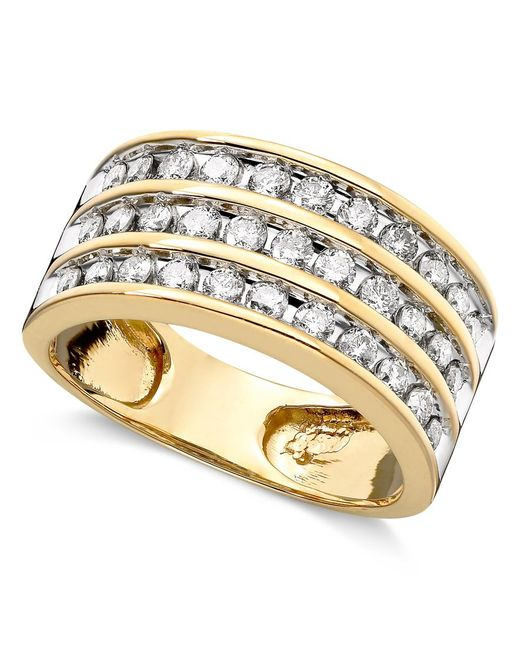 Macy's | Metallic Three-row Diamond Ring (1 Ct. T.w.) In 14k Gold | Lyst