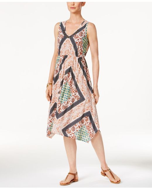 Style & Co. | Multicolor Petite Printed Coin-trim Dress | Lyst