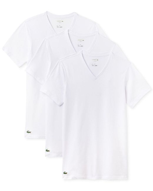 Lacoste   White Men's 3-pk. Cotton V-neck Undershirts for Men   Lyst