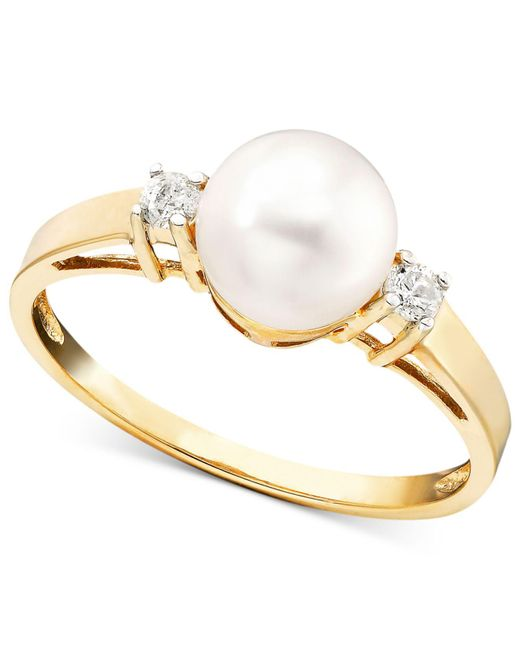 Macy's - White Cultured Freshwater Pearl (7mm) And Diamond Accent Ring In 14k Gold - Lyst