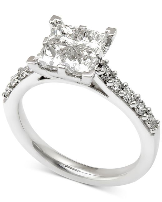 Macy's - Metallic Diamond Quad Engagement Ring (2 Ct. T.w.) In 14k White Gold - Lyst