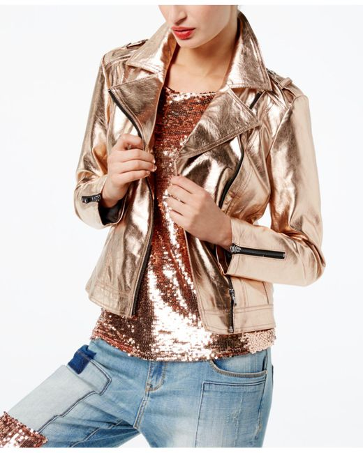 INC International Concepts | Metallic Faux-leather Moto Jacket | Lyst