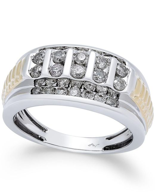 Macy's   Metallic Men's Diamond Cluster Two-tone Ring (1 Ct. T.w.) In 10k Gold And White Gold for Men   Lyst