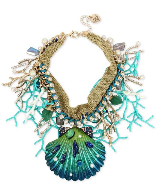 Betsey Johnson | Blue Gold-tone Multi-stone Shell Statement Necklace | Lyst