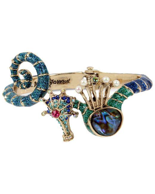 Betsey Johnson | Blue Gold-tone Multi-stone Seahorse Hinged Bangle Bracelet | Lyst