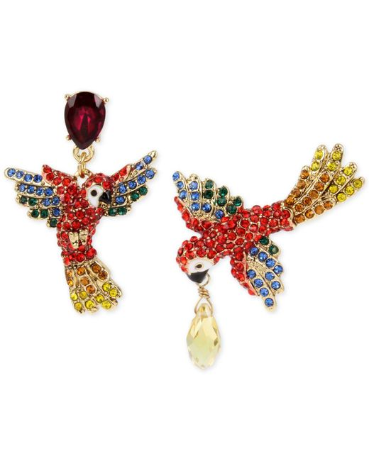 Betsey Johnson   Metallic Gold-tone Pavé & Colored Crystal Mismatch Parrot Drop Earrings   Lyst