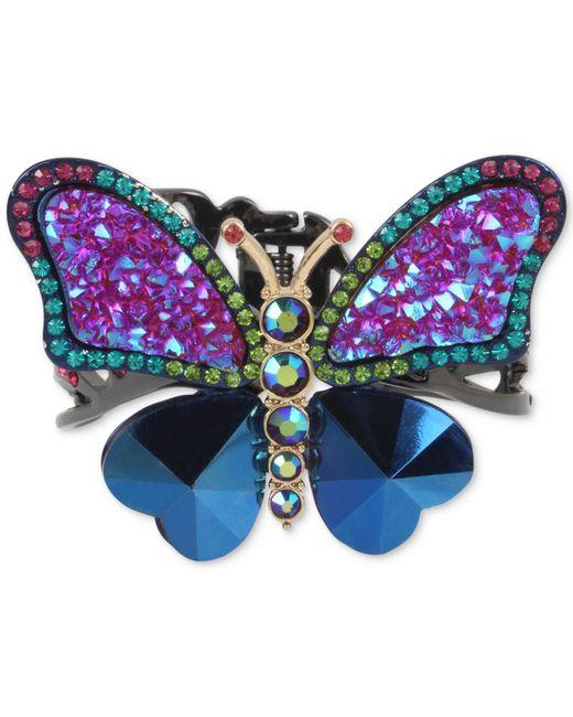 Betsey Johnson | Blue Hematite-tone Multi-stone Butterfly Cuff Bracelet | Lyst
