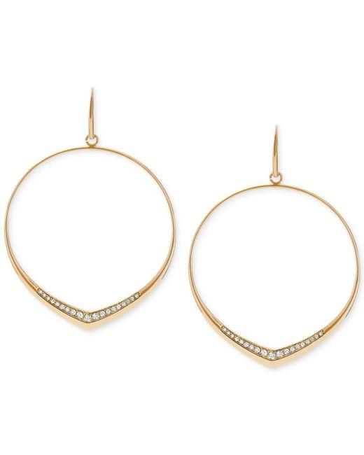 Michael Kors | Metallic Pavé Drop Hoop Earrings | Lyst