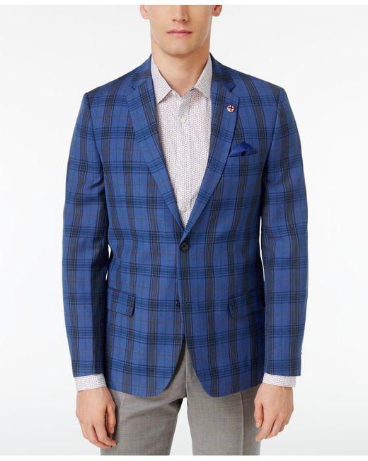 Ben Sherman | Men's Slim-fit Brown And Blue Plaid Sport Coat for Men | Lyst