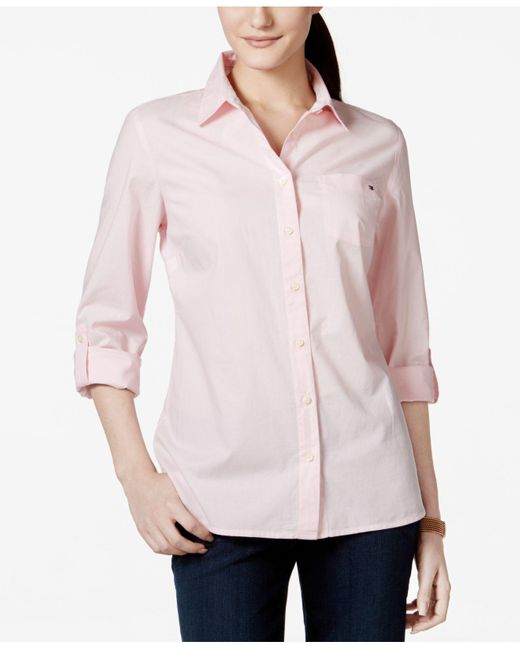 Tommy Hilfiger | Pink Cotton Roll-tab Shirt | Lyst
