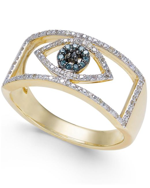 Wrapped in Love - Metallic Diamond Evil Eye Ring (1/6 Ct. T.w.) In 10k Gold - Lyst