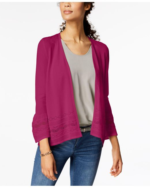 Charter Club - Pink 3/4-sleeve Pointelle-knit Cardigan, Created For Macy's - Lyst