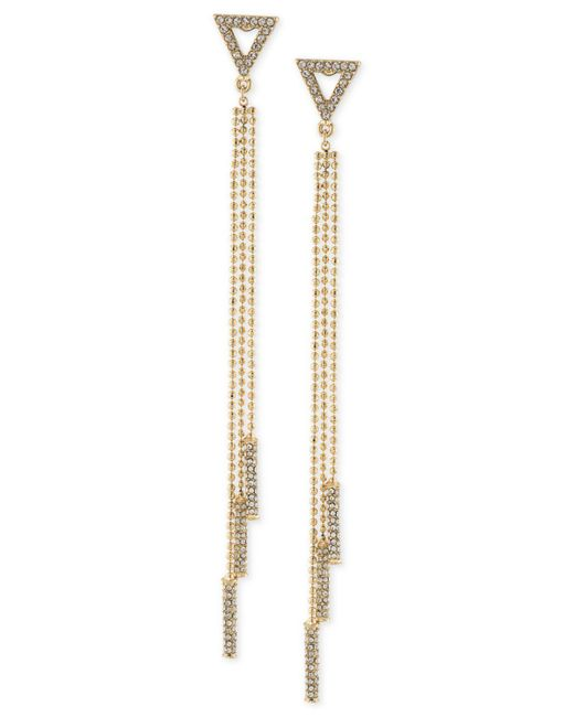 ABS By Allen Schwartz | Metallic Gold-tone Crystal Drop Earrings | Lyst