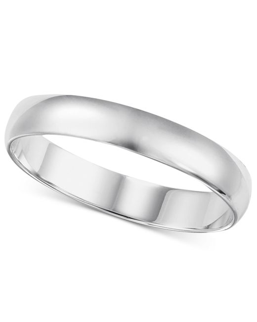 Macy's | Metallic Wedding Band (4mm) In 14k White Gold for Men | Lyst