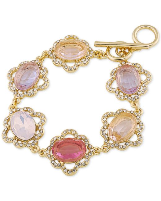 Carolee | Metallic Gold-tone Multi-stone And Pavé Link Bracelet | Lyst