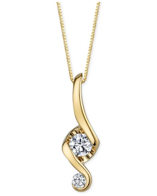 Proud Mom | Natural Diamond Swirl Pendant Necklace (1/10 Ct. T.w.) In 14k Gold | Lyst