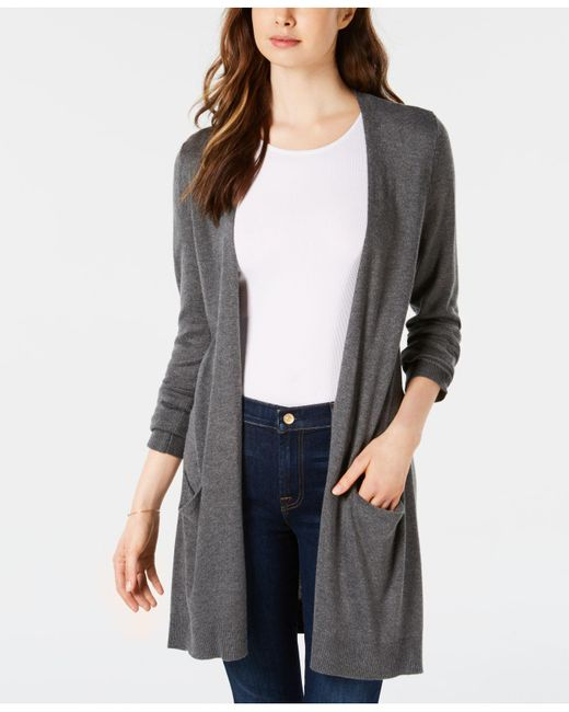 Maison Jules - Multicolor Long Open-front Jersey Cardigan, Created For Macy's - Lyst