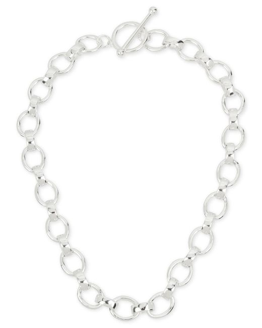 Touch Of Silver   Metallic Large Link Toggle Collar Necklace In Silver-plate   Lyst