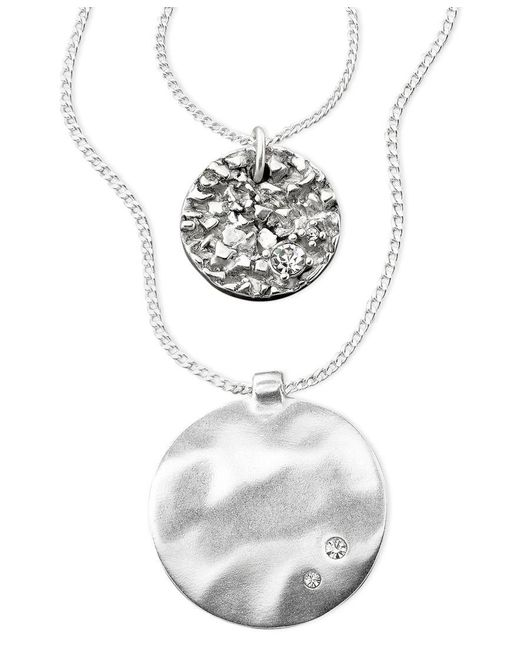 Kenneth Cole | Gray Pendant, Silver-tone Mixed Metal And Crystal Accent | Lyst
