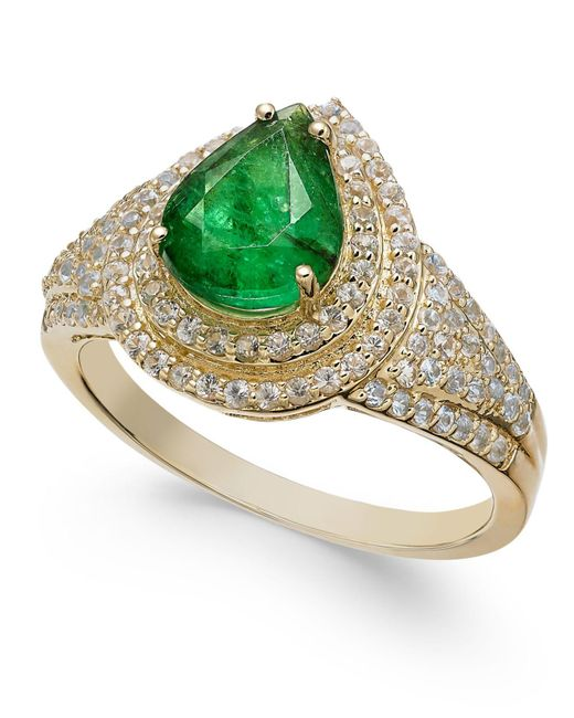Macy's | Green Emerald (2 Ct. T.w.) & White Sapphire (3/4 Ct. T.w.) Ring In 14k Gold | Lyst