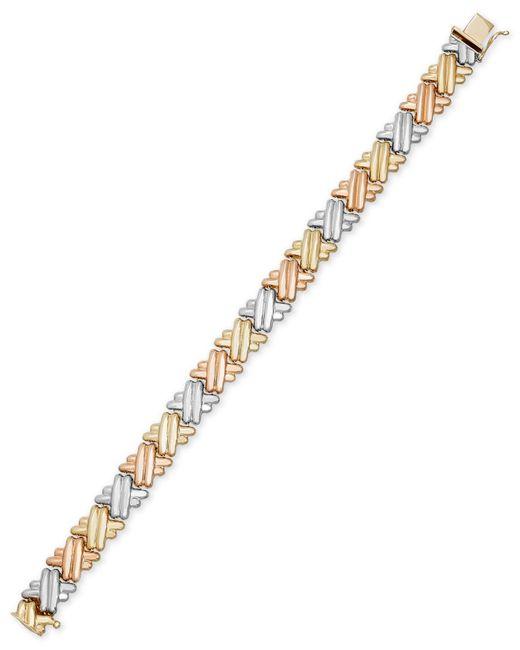 Macy's   Metallic Tri-tone Crisscross Link Bracelet In 14k Gold And Rhodium-plating   Lyst