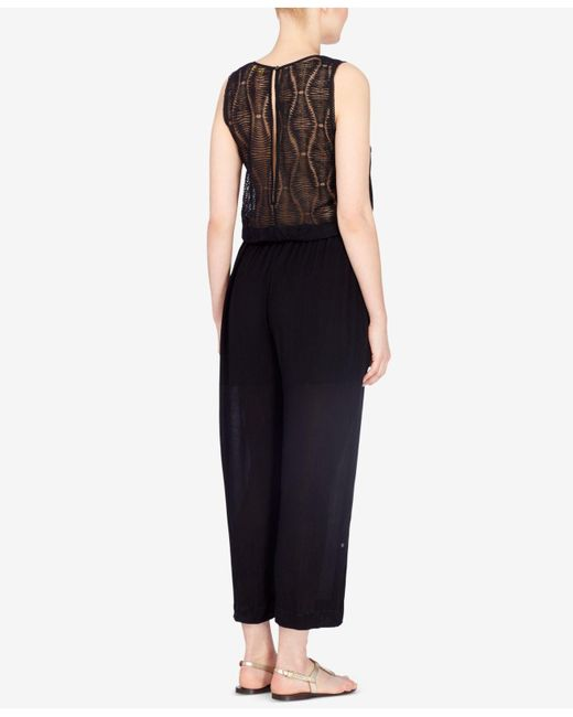 Catherine Malandrino | Black Embroidered Cropped Jumpsuit | Lyst