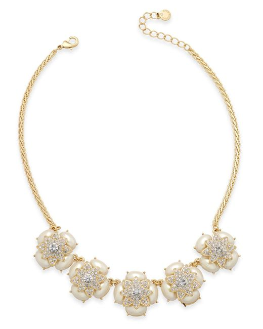 Charter Club   Metallic Gold-tone Pavé & Imitation Pearl Flower Statement Necklace   Lyst