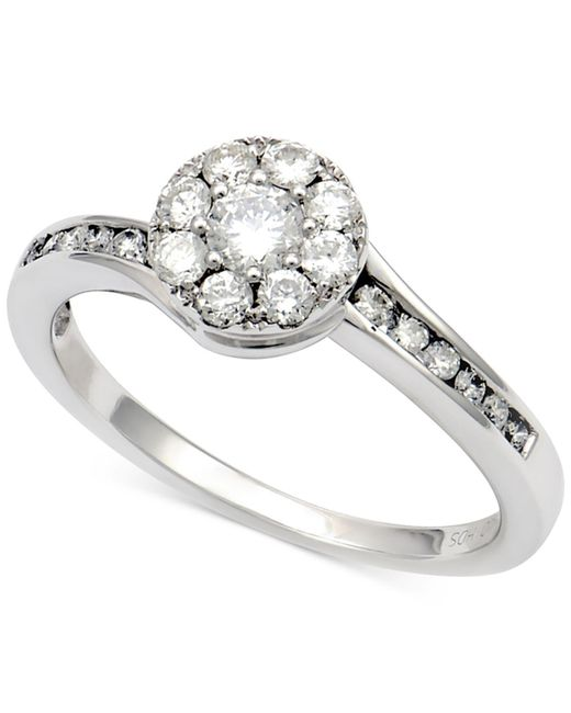Macy's | Diamond Halo Cluster Ring (5/8 Ct. T.w.) In 14k White Gold | Lyst