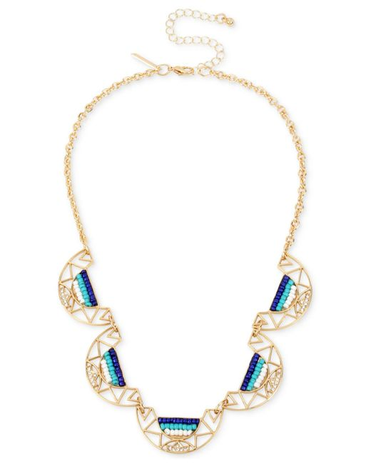 INC International Concepts | Metallic Gold-tone Pavé & Colored Bead Statement Necklace | Lyst