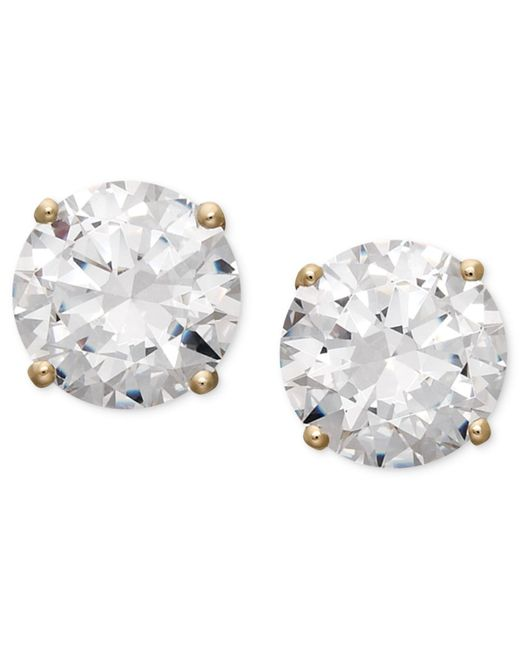 Arabella - White 14k Gold Earrings, Swarovski Zirconia Round Stud Earrings (3-1/2 Ct. T.w.) - Lyst