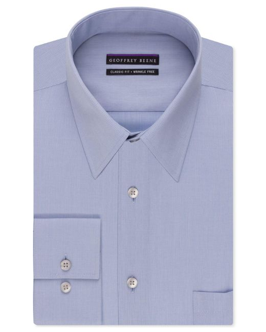 Geoffrey Beene | Blue Men's Classic-fit Wrinkle Free Bedford Cord Dress Shirt for Men | Lyst