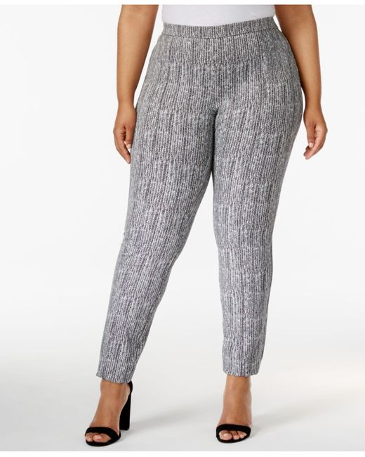 Alfani | Gray Plus Size Herringbone-print Skinny Pants | Lyst