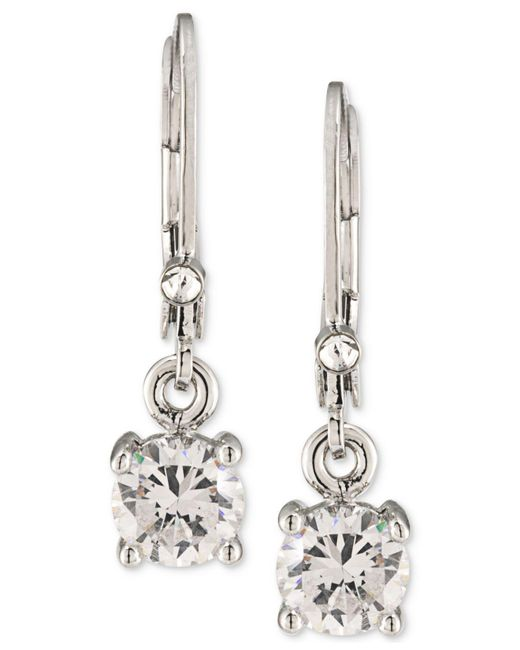 Carolee - Metallic Silver-tone Crystal Drop Earrings - Lyst