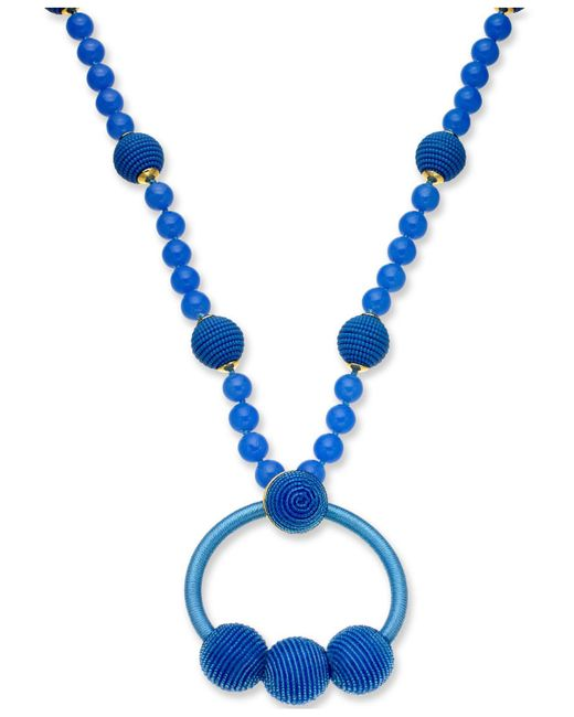 "Kate Spade - Blue Gold-tone Beaded & Wrapped Pendant Necklace, 28"" + 3"" Extender - Lyst"