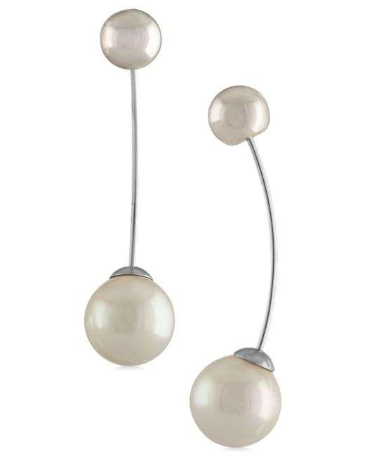 Majorica | Metallic Ball & Imitation Pearl Drop Earrings | Lyst