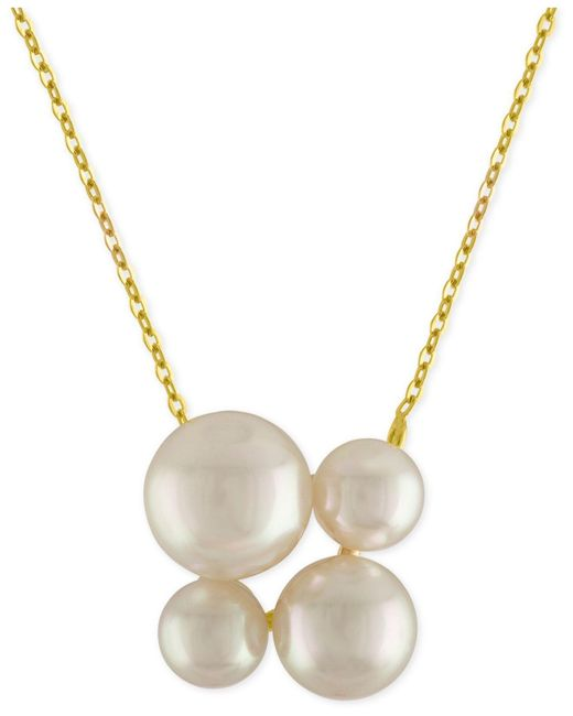 Majorica | Metallic Gold-tone Stainless Steel Imitation Pearl Cluster Pendant Necklace | Lyst