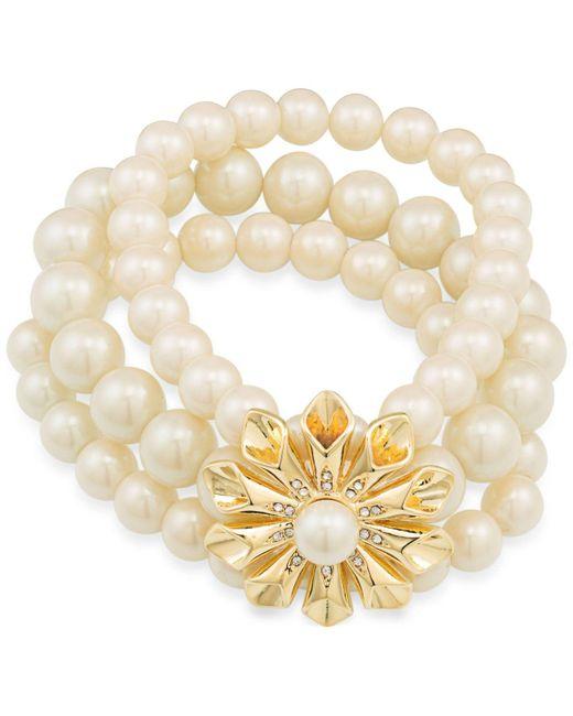 Carolee   Metallic Gold-tone Pavé & Imitation Pearl Flower Stretch Bracelet   Lyst