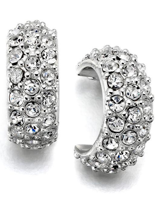 Lauren by Ralph Lauren | Metallic Silver-tone Crystal Accent Hoop Earrings | Lyst