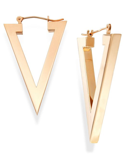 Macy's - Metallic Triangle Hoop Earrings In 14k Gold, 1 1/8 Inch - Lyst
