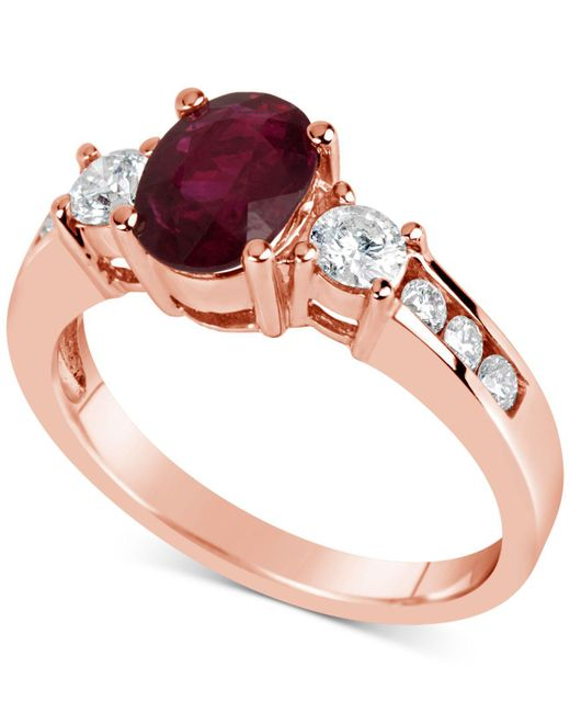 Macy's - Red Certified Ruby (1-1/2 Ct. T.w.) & Diamond (1/2 Ct. T.w.) Ring In 14k Rose Gold - Lyst