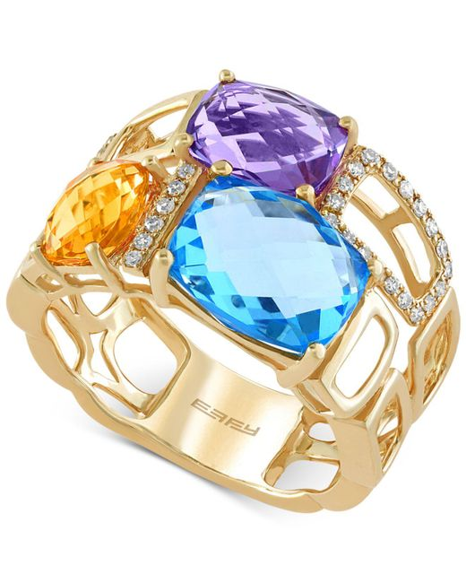 Effy Collection - Metallic Multi-stone (6-7/8 Ct. T.w) And Diamond (1/10 Ct. T.w.) Mosaic Ring In 14k Gold - Lyst