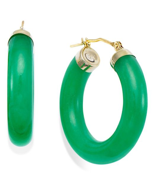 Macy's - Green Jade Hoop Earrings In 14k Gold (27-1/2mm) - Lyst