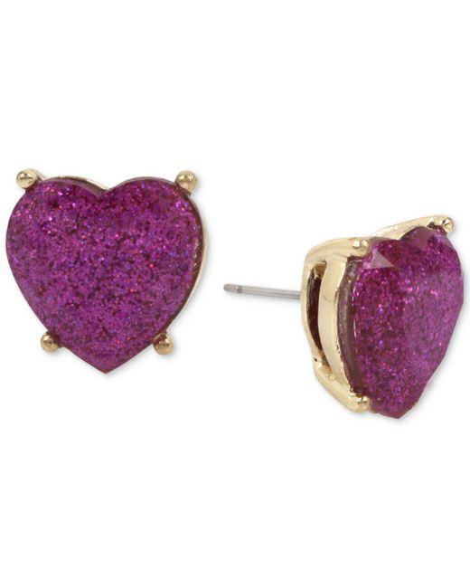 Betsey Johnson | Gold-tone Purple Glitter Heart Stud Earrings | Lyst