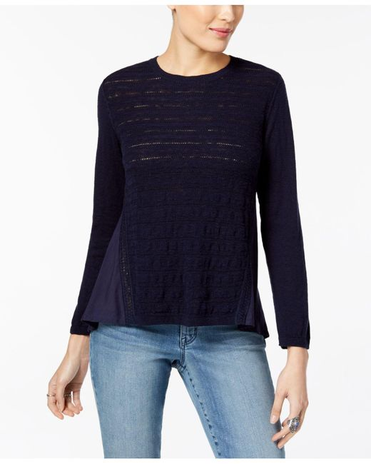 Style & Co. - Blue Petite Cotton Pointelle-knit High-low Sweater - Lyst