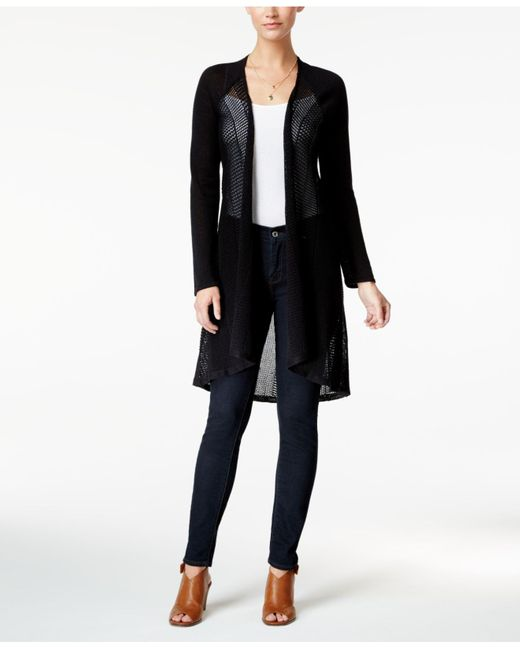 Style & Co.   Black Pointelle Duster Cardigan   Lyst