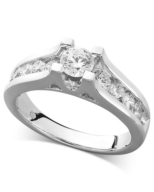 Macy's | Metallic Certified Diamond Channel Engagement Ring In 14k White Gold (1 Ct. T.w.) | Lyst